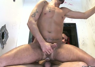 A visit to make an issue of blissful gloryhole leads to a hot hairy pain in the neck fucking