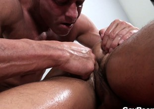 Ethan Slade gets joyous kneading and ass rimming from a total stranger