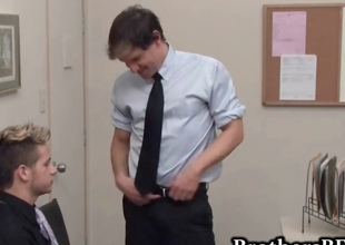 Brad going to bed and wanking in the office