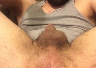Working over hairy pest mostly hands free cum