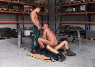 Chris Hacker, Mickey A and Zsolt XL beg a fine gay threesome in the garage