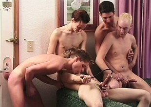 A big group of kinky guys plug their butts with toys and jerk retire from