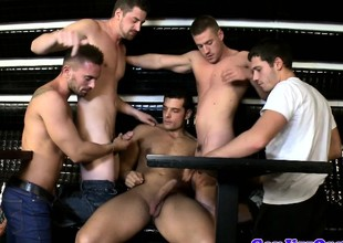 Amateur gay group orgy dudes in public bar