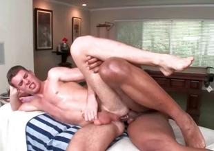 Gay hottie hammering white guy