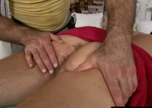 Gay guy gives straight guy oily rub down