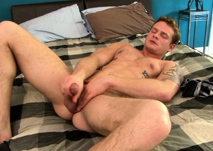 Tattooed shut off Trent Diesel beats his meat and fingers his butthole