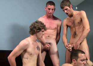 Gay array sucking together with fucking with four twinks Max, Sam, Brandon together with Blake