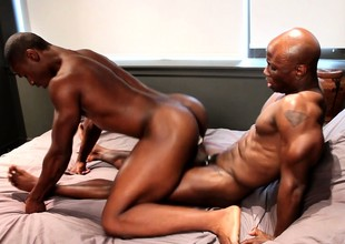 Black gay athlete getting his asshole trained the hardcore way
