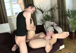 Horny gay man slamming his huge pecker helter-skelter boyfriend's tight ass