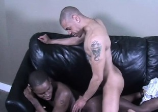 Black gays swell up dick, puncture some ass and then jerk off pile up