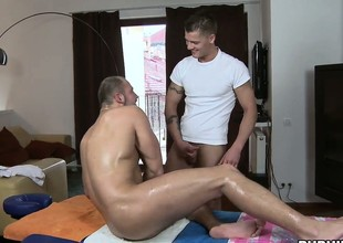 Hot hunk gets a surprising boost attaining from his twink masseur