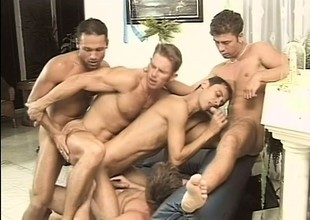 Five lustful guys get together in the living room be advisable for a gay orgy