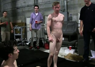 Kinky blissful copulation mafficking celebrations with three hot twinks, a lot of grease someone's palm plus a cage