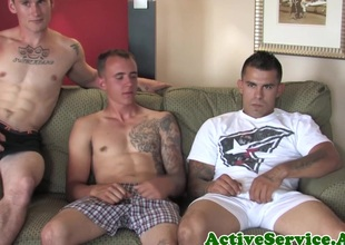 Military threeway with cadets assfucking