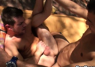 Jordan White goes outside more hot-assed henchman and grabs his ass