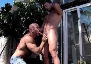 Muscled dude sucking dick