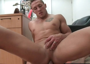 Muscled gay hunk getting his anus