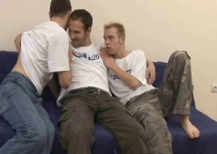 Threesome Double Felching Gays Anal Creampie