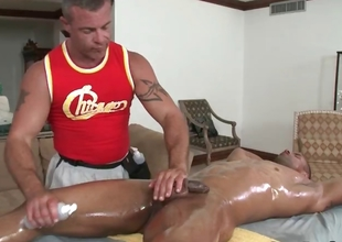 Dispirited dude get his awesome body massaged