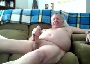 sexy grandpa stroke increased by cum on cam