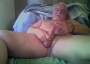 grandpa with open legs stroke and cum on cam