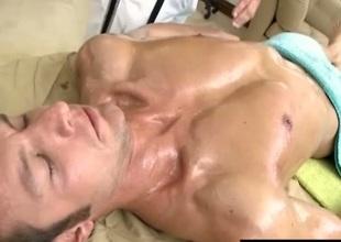 Beamy gay rubs dude body