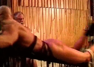 Gay bondage alongside spanking