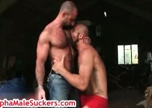 Horny gays kissing in a chuck