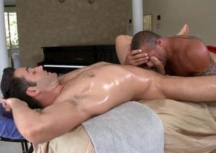 Babe is delighting lad with yawning chasm massage